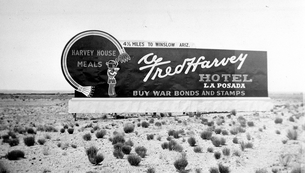 Historic Fred Harvey Hotel La Posada Road Sign On Route 66 Circa 1935